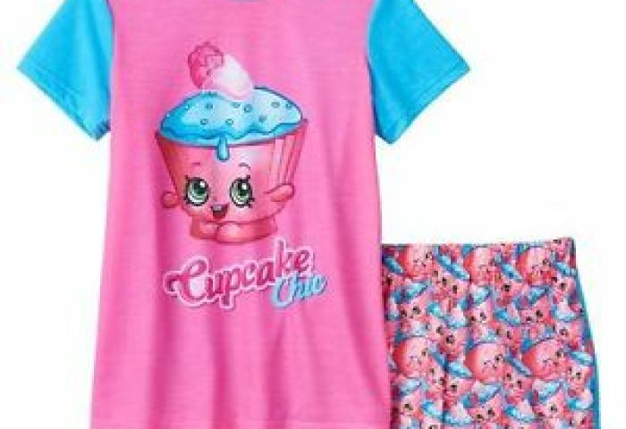 Shopkins Cupcake Chic Girls Pajamas Size Small 6 6x Shirt Top And