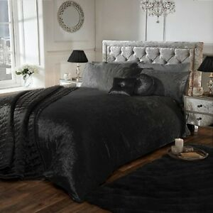 details about black luxury crushed velvet duvet quilt cover bedding set all uk sizes