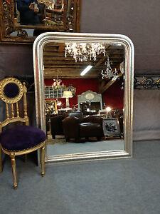 details sur glace miroir de style louis philippe en bois argente 138 x 110 cm