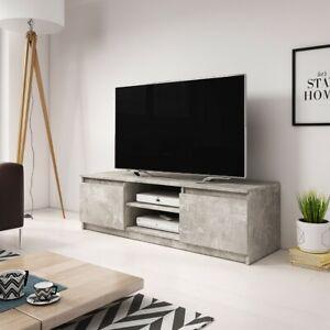 details sur meuble tv banc tv permys 120 cm blanc chene beton eclairage optionnel moderne