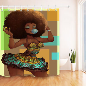 details about bubbles african black girl afro hairstyle shower curtain set bathroom decor 72