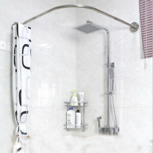 details about adjustable curved shower curtain rod 17 24inch bath tub bathroom rail hanger