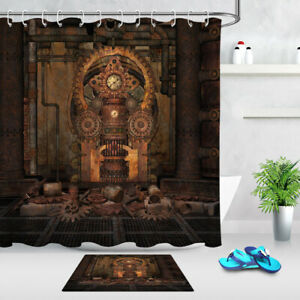 details about vintage industrial room steampunk shower curtain set bathroom waterproof fabric