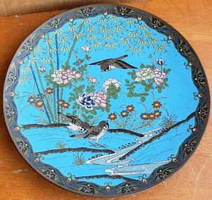 Antique Chinese or Japanese Cloisonne Platter Charger 12 Inch Birds Flowers