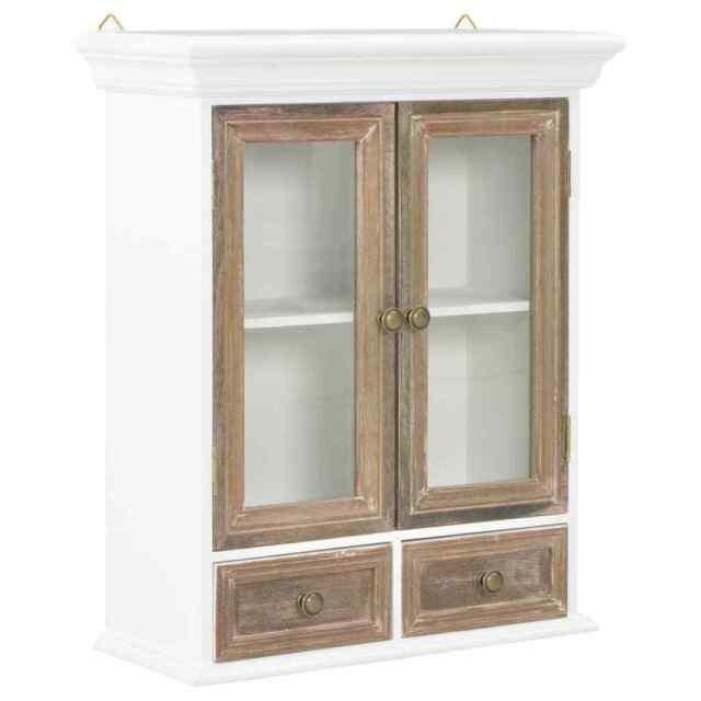 vidaxl bois massif armoire murale stockage blanc verre meuble de salon cuisine