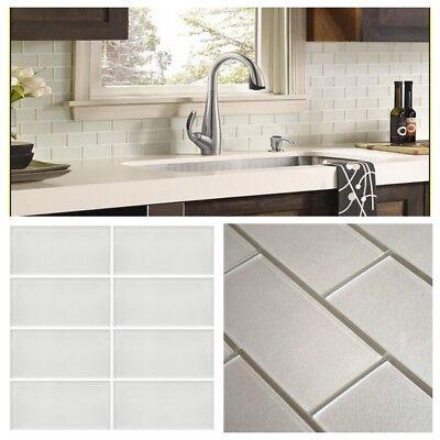 pearl white crystal glass subway tile for kitchen bath backsplash wall 3 x 6 ebay