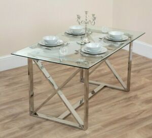 details about dining table glass silver criss cross chrome legs grey chairs bench 4 6 seater