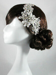 wedding bridal head piece crystal lace vintage head band hair accessories satine ebay