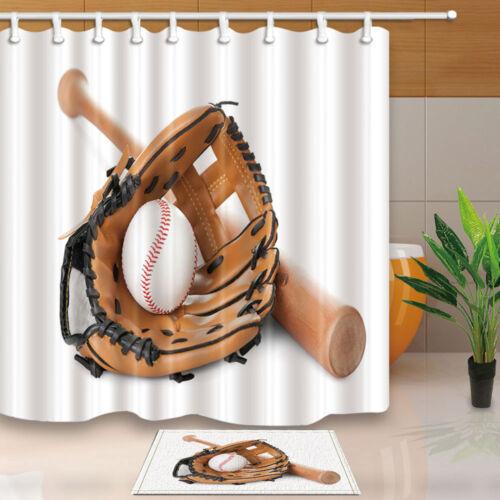 baseball bat and gloves shower curtain bathroom decor fabric 12hooks 71 71inch bathroom supplies accessories garden curtains
