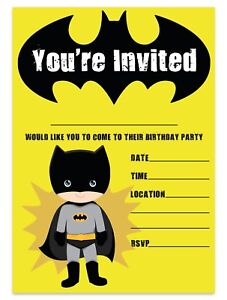 details about batman theme birthday party invitations superhero invites children boys kids