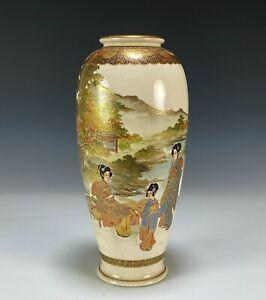 Large Antique Japanese Satsuma Pottery Vase with Scene of Women in Landscape