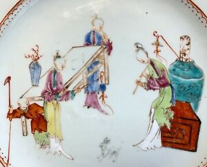 Fine 18th century 8 sided plate with figures