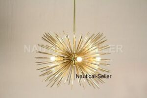 Image Is Loading 5 Bulbs Mid Century Gold Brass Sphere Urchin