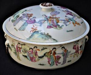 19TH CENTURY ANTIQUE CHINESE FAMILLE VERTE PORCELAIN BUCKET BOWL VASE
