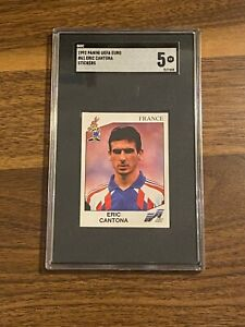 French footballer eric cantona pictured standing on the pitch prior to the group 1 match between sweden and france in the uefa euro 1992 championship. Eric Cantona Panini Euro 92 Sticker #61 SGC 5 Rare | eBay
