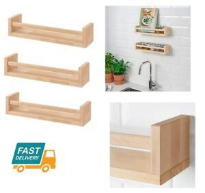 Détails Sur Ikea En Bois Bocal à épices Rack Support De Rangement Cuisine Murale étagère étagères Organisateur Afficher Le Titre Dorigine