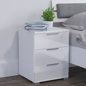 details sur vicco table de nuit blanc brillant table de chevet meuble de chevet 3 tiroirs