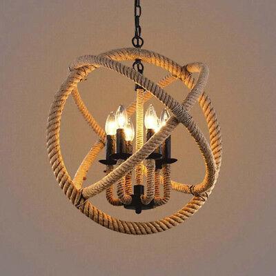 rope orb led bulbs chandelier rustic