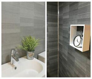 details about modern tile effect bathroom wall panels pvc carbon graphite grey shower panels