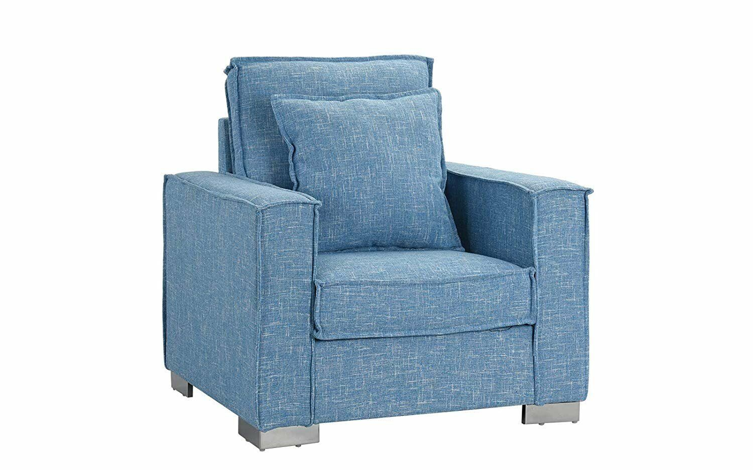 Modern Small Space Fabric Armchair Living Room Accent Chair Light Blue