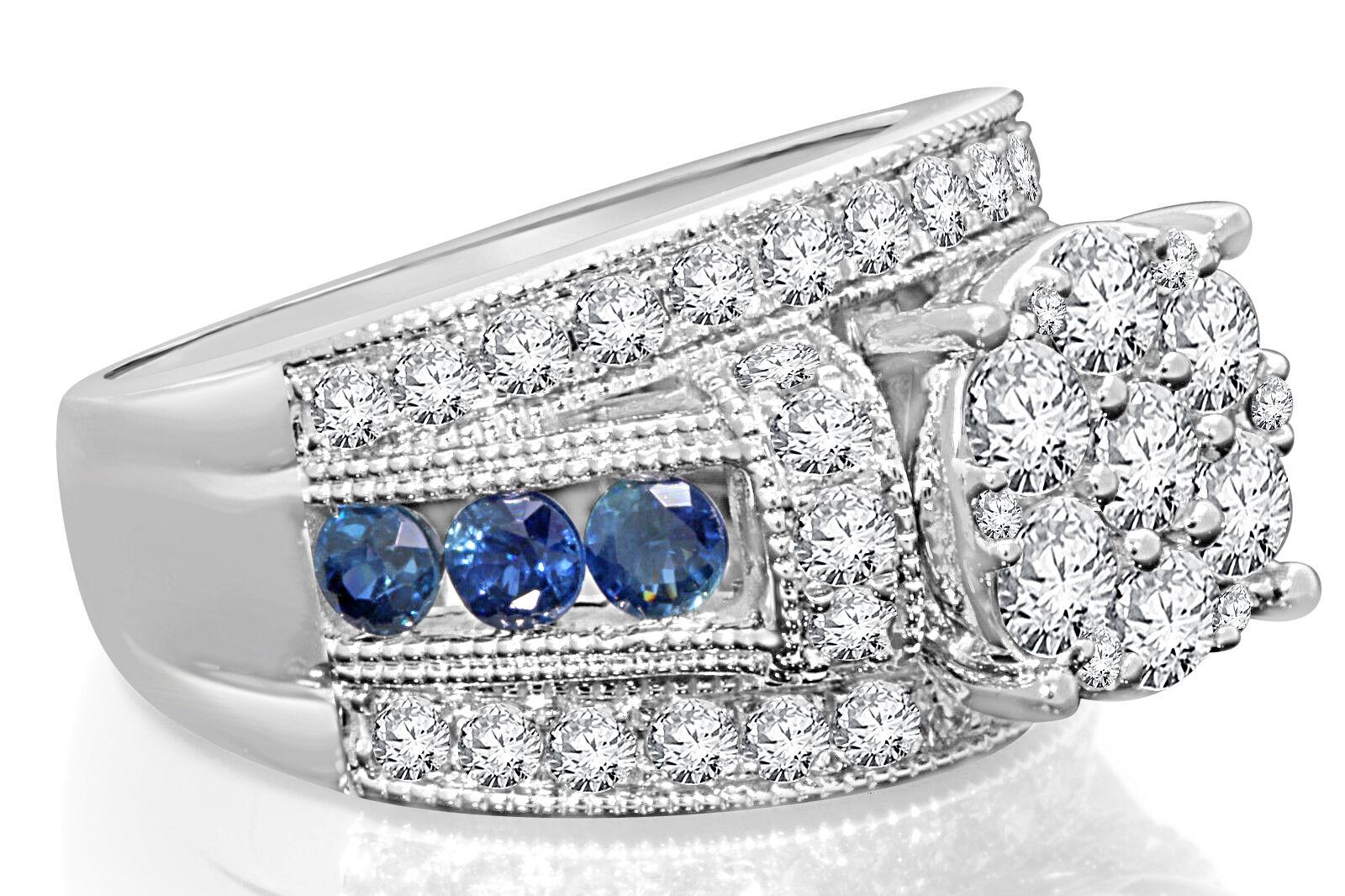 10K WHITE GOLD 3.26 CARAT WOMEN DIAMOND SAPPHIRE
