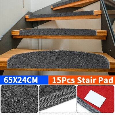 15Pcs Mats Step Staircase Stair Tread Carpet Non Slip Mat | Non Slip Stair Treads Carpet | Self Adhesive | Slip Resistant Rubber Backing | Step | Semi Circle | Adhesive Padding