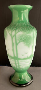 """Antique Early 1900 Chinese Green Peking Glass Vase Lake Scenery Trees 7 1/2""""Tall"""