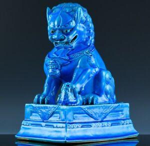 GREAT LARGE CHINESE ROYAL BLUE ENAMEL BUDDHA BUDDHIST PORCELAIN FU LION FIGURE