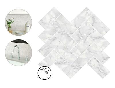 herringbone carrara backsplash tiles peel stick 4pcs white marble wall sticker ebay