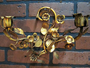 Vintage Antique Italian Gold Gilt Tole Wall Sconce Candle ... on Candle Wall Sconces With Flowers id=34772