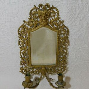 """Vintage 16"""" Brass BACCHUS Wall Sconce double candle holder ... on Antique Style Candle Holder Sconces id=21767"""