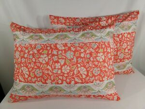 details about set of 2 home classics orange floral pillow shams bands of embroidery polyester