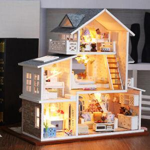details sur kit de maison de poupees de diy miniature en bois avec des lumieres