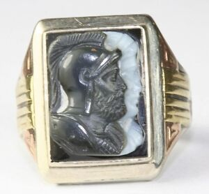 Vintage 1930 S 1940 S 14k White Rose Yellow Gold Twin Cameo Mens Ring Size 9 Ebay