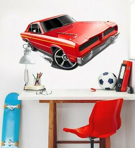 The paste is applied directly to the wall and the numbered panels are hung edge to edge. 3d Red Car G03 Car Wallpaper Mural Poster Transport Wall Stickers Wendy Ebay