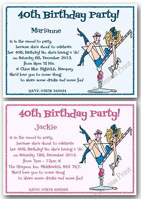 10x personalised 18th 21st 30th 40th 50th 60th funny birthday party invites j100 ebay