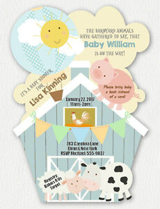 Details About Farm Baby Shower Invitations Cow Invitation Pig Custom