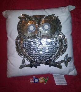 details about rare pier 1 imports white w platinum gold sequin owl pillow 13x13 new
