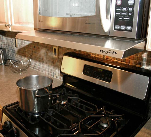 microvisorhood mini hood extension for microwave over the range stainless steel