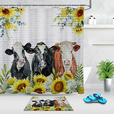watercolor sunflowers cows heifer farm animals shower curtain set bathroom decor ebay