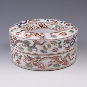 Antique Chinese Famille Rose Porcelain Box with Dragon