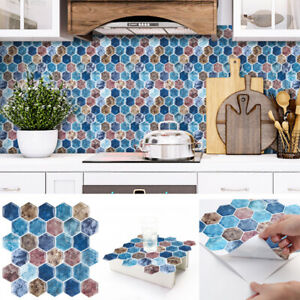 details about 5x hexagon peel and stick vinyl backsplash tile self adhesive sticker wall tiles