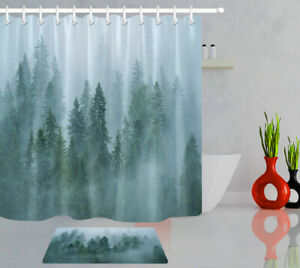 details about nature winter foggy green pine forest fabric shower curtain set bathroom decor