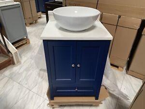 details about 24 samana single vessel sink bathroom vanity navy blue calacatta quartz top