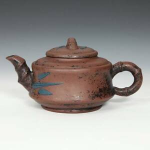 CHINESE YIXING PURPLE CLAY POTTERY BAMBOO MOTIF TEAPOT CHA CHINA 20TH C