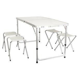 details sur set aluminium table de camping pliable 120 cm avec 4 tabouret jardin pliante