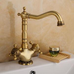 details about bathroom 2 handles antique brass basin single hole faucet vintage sink mixer tap