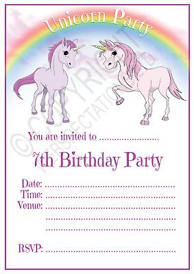 unicorn 7th birthday party invitations cards girls age 7 kids invites envelopes ebay