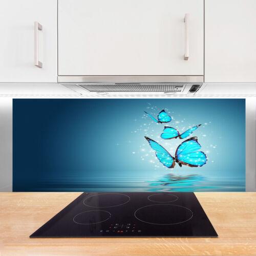 kochen geniessen credence de cuisine en verre panneau 125x50 art papillons mobel wohnen blowmind com br