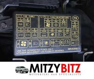 ENGINE BAY FUSE & RELAY BOX LID MR409811 for MITSUBISHI SHOGUN SPORT K94 | eBay